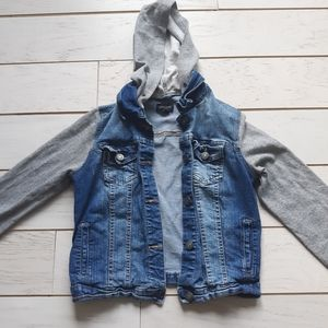Hooded Jean jacket with cotton sleeves